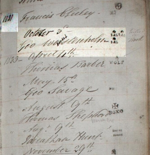 A scan from the mark book of The Company of Cutlers in Hallamshire  showing the I*XL mark being issued to Wostenholm in 1831. (Reproduced with the kind permission of The Company of Cutlers in Hallamshire)  » Click to zoom ->
